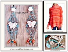 THE KENSIE SWEATER Coral Orange Coral Striped Fringe Designer Sweater LAST ONES S or M Turquoise Fashion, Turquoise Jewelry, Boho Jewelry, Handmade Jewelry, Cowgirl Jewelry, Rhinestone Jewelry, Custom Jewelry, Fringe Fashion, Boho Fashion