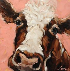 Cow Painting 6x6 inch original oil painting of a Cow by Andrea Lavery available www.etsy.com/shop/LaveryART