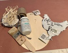 Farmhouse Chicken DIY – This project was so simple and it turned out super cute. Here is what I used to make this sign. It's easy to find these supplies to create a great addition to your farmhouse decor. Lizzy Craft Stick Crafts, Fall Crafts, Crafts To Sell, Diy Crafts, Dollar Tree Crafts, Dollar Tree Store, Waverly Chalk Paint, Budget Crafts, Craft Projects