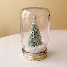 Silver Topped Retro Christmas Tree Mason Jar Decoration (Printed Jar)