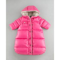 Moncler Baby Sleeping Bag Sack, Pink found on Polyvore