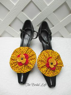 Yellow Shoe Clips, Red Yellow Black Shoe Clips, Red and Yellow Wedding, Matching Items Available, by BridalLoft, on Etsy