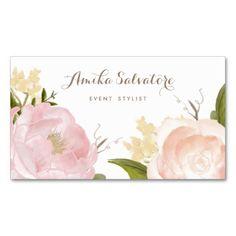Romantic Watercolor Flowers Business Card