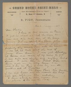 Letter from Maurice Brazil Prendergast to Charles Prendergast, Paris May, 1907 [ca. May 31, 1907] at Williams College Museum of Art.