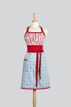 Cute Kitsch Retro Apron . Full Kitchen Chef Style  Womens Handmade Apron Vintage Cherry Strawberry Lattice on Teal