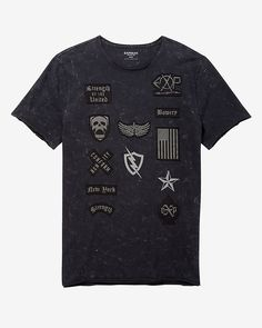 patch embellished graphic t-shirt