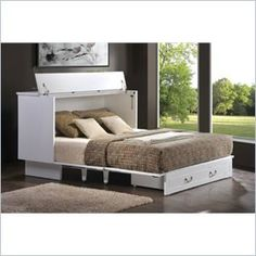 This bed stores back into a compact unit that looks like a dresser/cupboard - really cool!
