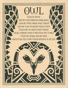 Owl Prayer Poster Book Of Shadows Page Wiccan Pagan Witch Shaman Totem Animal Spirit Guides, Owl Eyes, Pagan Witch, Witches, Nocturne, Book Of Shadows, Magick, Wicca Witchcraft, Prayers