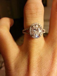 Oval Halo split shank diamond engagement ring- candle light