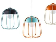 Taking inspiration from the classic utilitarian hanging light used in a workshop setting, Tommaso Caldera has created the Tull for Incipit. A light fixture that charms as much as it illuminates. Made of painted metal and aluminum in a smart palette of colors its cage aspect diffuses the light and casts interesting shadows.  design, product design, objects, light fixture, modern, contemporary, colorful, pendant lamp