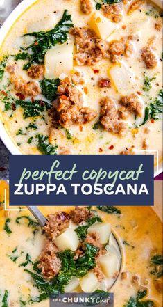 Easy Soup Recipes, New Recipes, Dinner Recipes, Favorite Recipes, Healthy Recipes, Soup Recipes With Bacon, Dinner Ideas, Copycat Zuppa Toscana, Frases
