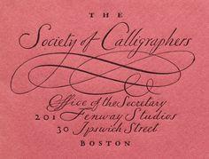 William Addison Dwiggins, Envelope for the (imaginary) Society of Calligraphers, Boston. Creative Typography Design, Typography Love, Typography Letters, Lettering Design, Hand Lettering, Lettering Ideas, Print Design, Graphic Design, Type Design