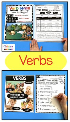 LEARN ABOUT VERBS - kindergarten - first grade - second grade - grammar - ela - literacy worksheets - morning work - lesson plans - how to teach grammar - small groups - whole groups - word work rotations - homework - learn from home - FREEBIES - cut and paste - fine motor - writing adjectives - verbs - nouns #kindergartengrammar #firstgrade How To Teach Grammar, Teaching Grammar, Kindergarten Centers, Literacy Centers, First Grade, Second Grade, Literacy Worksheets, Subject And Verb, Morning Work