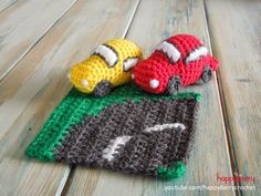 Happy Berry Crochet: CAL Crochet Road Play Mat - Tutorial 3: Curved Road & Car + links naar complete automat/puzzel