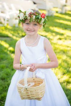 Summer wedding, flower girl style, floral crown, pearl necklace, woven basket //  Amelia Anne Photography