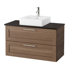 IKEA - GODMORGON/TOLKEN / TÖRNVIKEN, Wsh-stnd w countrtop 45x45 wsh-bsn, anthracite, walnut effect, , 10 year guarantee. Read about the terms in the guarantee brochure.Laminate countertops are highly durable and easy to maintain. A little care will keep them looking brand new for years.You can place the wash-basin where you prefer – left, right or in the middle.Smooth-running and soft-closing drawers with pull-out stop.You can easily customise the size of the drawer by moving the di...