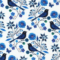 Organic Moody Blues Yardage  Perched Bird by MalinisQuiltCo