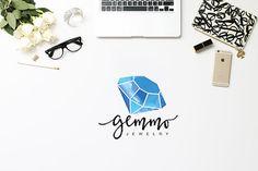 Premade Logo Design Purple Amethyst Crystal by PixieDustDigital