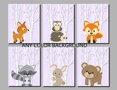 Woodland Nursery Decor, Forest Animals Nursery, Woodland Art, Kids Wall Art, Boy, Girl, Birch Trees, Lavender, Set of 6 Prints or Canvas