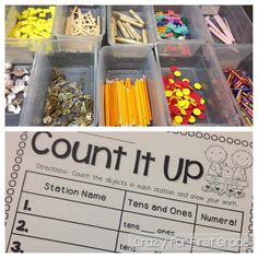 In this activity, students go to different counting stations. In each station, they are counting the objects by making groups of 10. It's important to pick real life, fun objects to engage my students! I used old keys, toy dinosaurs, shells, pencils, counters, crayons, popsicle sticks, straws, and tiles. The possibilites are endless!