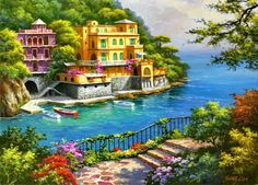 Painting By Numbers DIY Dropshipping Big size Landscape Scenery across Landscape Acrylic House Decoration Art picture Gift Mountain Landscape, Landscape Art, Landscape Paintings, Cheap Paintings, Seascape Paintings, Oil Paintings, Pictures To Paint, Art Pictures, Beautiful Paintings
