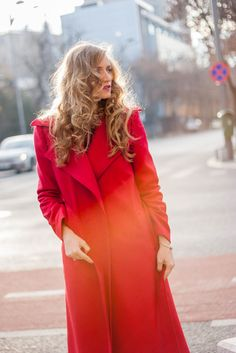 Red coat winter street style fashion by Chemistry