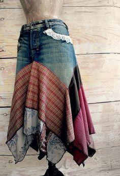 $82.00 Hippie Chic Women's Jean Skirt Rustic by BrokenGhostClothing