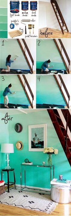 Ombre wall... Heck YES! Do this in my bedroom in shades of coral!