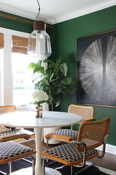 Dining Room | Room for Tuesday Sherwin Williams evergreen paint