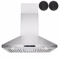 36 in. Convertible Kitchen Wall Mount Range Hood in Stainless Steel with Touch Control and Carbon Filter Kitchen Island Range, Chimney Range Hood, Kitchen Ventilation, Stainless Range Hood, Wall Mount Range Hood, Kitchen Tops, Carbon Filter, Brushed Stainless Steel, Convertible