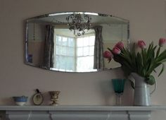 VINTAGE SHABBY CHIC ART DECO ETCHED BEVELLED WALL MIRROR