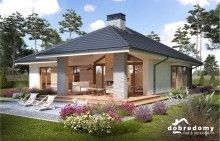Miriam V - Dobre Domy Flak & Abramowicz Beautiful House Plans, Beautiful Homes, Future House, My House, Plan Chalet, Modern Bungalow House, Modern Bungalow Exterior, Village Houses, Bungalows