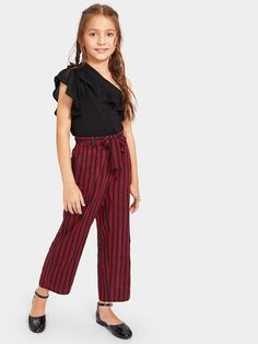 Shop Girls One Shoulder Ruffle Top & Belted Striped Pants Set online. SHEIN offers Girls One Shoulder Ruffle Top & Belted Striped Pants Set & more to fit your fashionable needs. Cute Fashion, Kids Fashion, Fashion Outfits, Moda Junior, One Shoulder Ruffle Top, Kids Outfits, Cute Outfits, Two Piece Outfit, Girls Wear