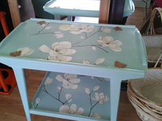 Tea trolley revamped in duck egg blue with butterfly detail :)