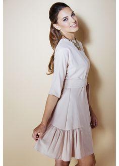 Modest powder pink ruffle hem dress with sleeves   Mode-sty #nolayering