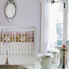 Hazel Crib Bedding Collection, decided on lavender, yellow, cream.