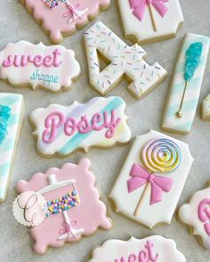 "Cowtown Cookie Co. on Instagram: ""Life is short, make it sweet🍭🍭🍭 Happy 4th birthday Posey💕"" Cookie Icing, Royal Icing Cookies, Cake Cookies, Sugar Cookies, Happy 4th Birthday, Girl Birthday, Birthday Ideas, Candy Theme, Biscuits"