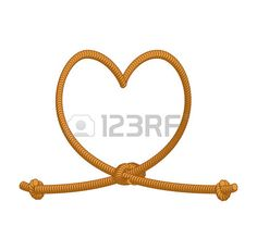 Heart tie rope. thick rope of love. Rope love. Symbol of eternal love-knot