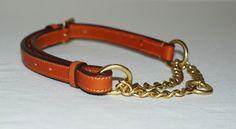 Adjustable leather martingale dog collar