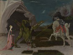 Saint George and the Dragon by Paolo Uccello, oil on canvas, National Gallery, London. On the left the princess is using her belt as a leash to take the dragon up to the town. On the right George is spearing the beast. Renaissance Kunst, Renaissance Paintings, Moritz Von Schwind, Gravure Photo, Dragon C, Famous Legends, Saint George And The Dragon, Saint Georges, National Gallery