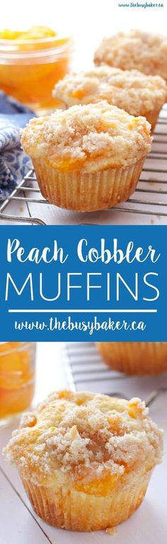 These Peach Cobbler Muffins are the perfect sweet snack! This is such an easy recipe that taste's just like Grandma's peach cobbler! And the best part? They're even easier to make than a traditional cobbler and have the perfect crumble topping! Muffins Blueberry, Peach Muffins, Zucchini Muffins, Breakfast Muffins, Mini Muffins, No Bake Desserts, Just Desserts, Dessert Recipes, Muffin Tin Recipes