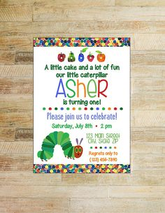 The Very Hungry Caterpillar First Birthday Party Invitation