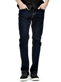 GUESS Factory Men's Del Mar Slim Fit Straight Leg Jeans In a classic dark indigo shade, these modern straight-leg jeans are a go-to style. Made with a slim fit through the hip and thigh, this pair features contrast topstitching for a modern look. Wear them casual with your favorite GUESS logo tee and sneakers, or dress them up with a button-down shirt and blazer.FIT: Slim fit through hips and thighs with straight legMIDNIGHT WASH: A dark indigo denim with contrast topstitchi