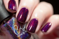 Berries in the Snow - Blackened berry wine intense linear holo - 1-2 coat coverage. Swatch by @iparallaxe on Instagram.