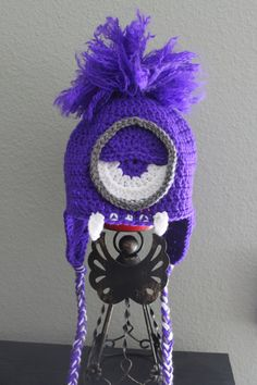 Handmade crochet evil purple minion beanie with teeth, ear flaps, and braids. Despicable me hat or costume