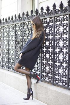 All black chic // Something navy // Long Sleeve Blavk dress and Christian Louboutin Ankle Boots http://FashionCognoscente.blogspot.com