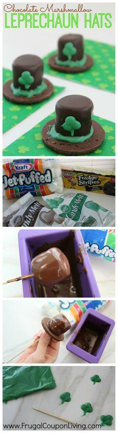 St. Patrick's Day Chocolate Marshmallow Leprechaun Hats Recipe #stpatricksday #recipe #leprechaun #treat
