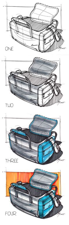 4 Step Marker Sketch of a Bag | Industrial Design Sketching  bag, nike, zipper, soft, goods