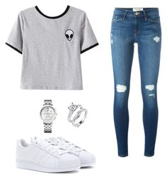 """Geen titel #54"" by charlottefledderus ❤ liked on Polyvore featuring Chicnova Fashion, adidas, Frame Denim and Tommy Hilfiger"