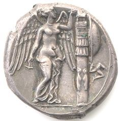 Silver 4 drachm (tetradrachm) of Agathocles, Syracuse, 310 BC - 308 BC. 1997.9.97